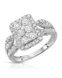 Natural 1.03 CTW Diamond Ring 14K White Gold -