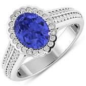 Natural 2.02 CTW Tanzanite & Diamond Ring 14K White