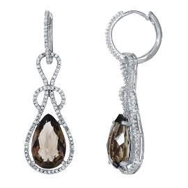 Natural 7.84 CTW Smoky Topaz & Diamond Earrings 14K