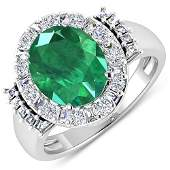 Natural 3.97 CTW Zambian Emerald & Diamond Ring 14K