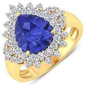 Natural 4.14 CTW Tanzanite & Diamond Ring 14K Yellow