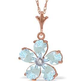 Genuine 2.22 ctw Aquamarine & Diamond Necklace 14KT