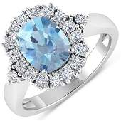 Natural 2.34 CTW Aquamarine & Diamond Ring 14K White