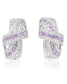 Natural 2.93 CTW Pink Sapphire & Diamond Earrings 18K