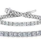 Natural 7.04ct VS2-SI1 Diamond Tennis Bracelet 14K