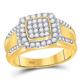 Round Diamond Square Cluster Ring 1 Cttw 10KT Yellow