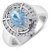 Natural 2.57 CTW Aquamarine & Diamond Ring 14K White