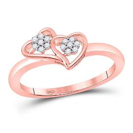 Round Diamond Double Heart Ring 1/10 Cttw 10KT Rose
