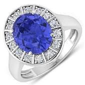 Natural 4.17 CTW Tanzanite & Diamond Ring 14K White