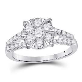 Round Diamond Flower Cluster Ring 1 Cttw 14KT White