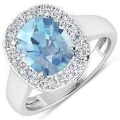 Natural 3.51 CTW Aquamarine & Diamond Ring 14K White