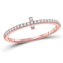 Round Diamond Cross Stackable Band Ring 1/6 Cttw 10KT