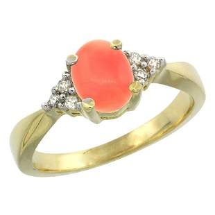 0.06 CTW Diamond & Natural Coral Ring 10K Yellow Gold -