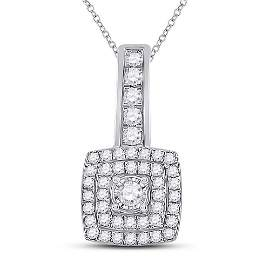 Round Diamond Square Pendant 1/3 Cttw 10KT White Gold