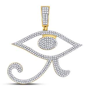 Round Diamond Eye of Ra Egyptian Charm Pendant 1 Cttw