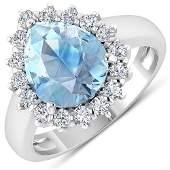Natural 2.78 CTW Aquamarine & Diamond Ring 14K White