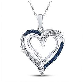 Round Blue Color Enhanced Diamond Heart Pendant 1/6