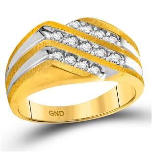 Round Diamond Diagonal 3 Row Fashion Ring 1/2 Cttw 10KT