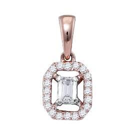 Emerald Diamond Solitaire Pendant 1/4 Cttw 14KT Rose