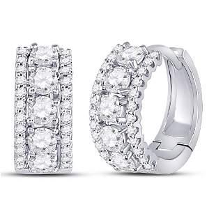 Round Diamond 3-Row Huggie Earrings 1 Cttw 14KT White