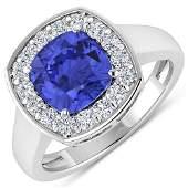 Natural 2.58 CTW Tanzanite & Diamond Ring 14K White