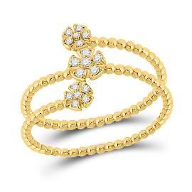 Round Diamond Fashion Flower Cluster Ring 1/8 Cttw 10KT