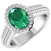Natural 2.07 CTW Zambian Emerald & Diamond Ring 14K