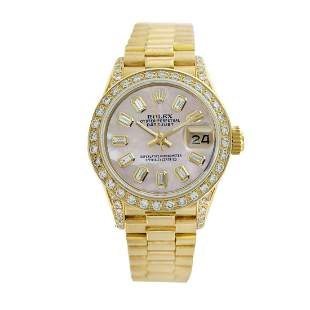Rolex Pre-owned 26mm Womens Pink MOP 18K Gold