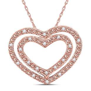 Round Diamond Double Heart Pendant 1/12 Cttw 10KT Rose