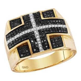 Round Black Color Enhanced Diamond Fashion Ring 5/8