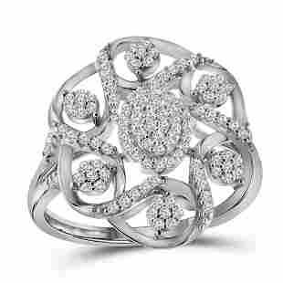 Round Diamond Cluster Cocktail Ring 1/3 Cttw 10KT White