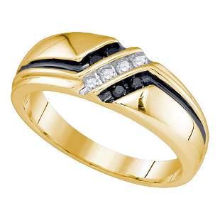 Round Black Color Enhanced Diamond Band Ring 1/5 Cttw