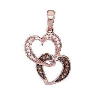 Round Brown Diamond Double Heart Pendant 1/10 Cttw 10KT