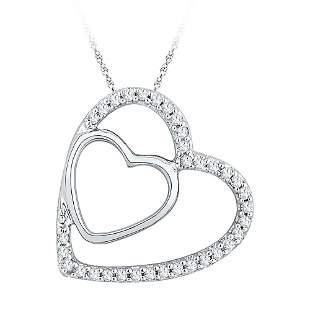 Round Diamond Double Heart Pendant 1/8 Cttw 10KT White