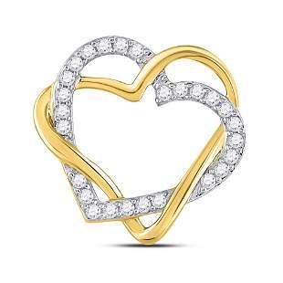 Round Diamond Double Heart Pendant 1/4 Cttw 10KT Yellow