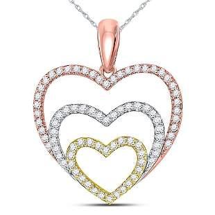 Round Diamond Triple Nested Heart Pendant 1/3 Cttw 10KT