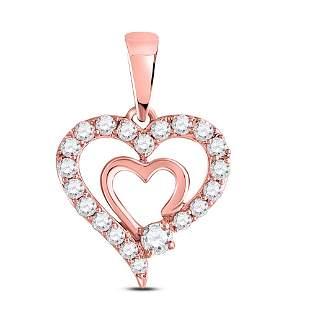Round Diamond Double Heart Pendant 1/4 Cttw 10KT Rose