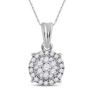Round Diamond Halo Cluster Pendant 1/4 Cttw 14KT White