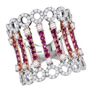 Round Ruby Diamond Cocktail Fashion Ring 1-1/2 Cttw
