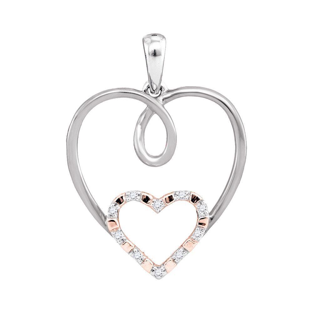 Round Diamond Rose-tone Double Nested Heart Pendant