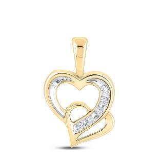 Round Diamond Double Heart Pendant 1/20 Cttw 10KT