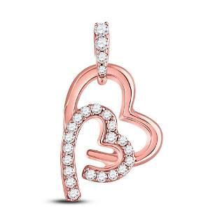 Round Diamond Double Heart Pendant 1/8 Cttw 10KT Rose
