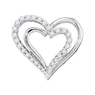 Round Diamond Double Nested Heart Pendant 1/4 Cttw 10KT