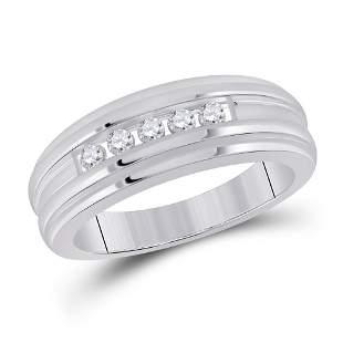 Round Diamond Wedding Channel Set Band Ring 1/4 Cttw
