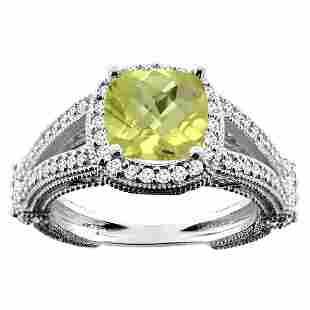 4.10 CTW Lemon Quartz & Diamond Ring 10K White Gold