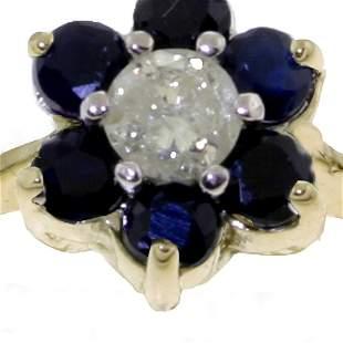 Genuine 0.50 ctw Sapphire & Diamond Ring 14KT Yellow