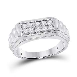 Round Diamond Ribbed Flat Top Band Ring 1/2 Cttw 10KT