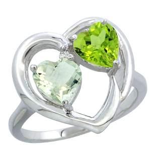 2.61 CTW Diamond, Amethyst & Peridot Ring 10K White