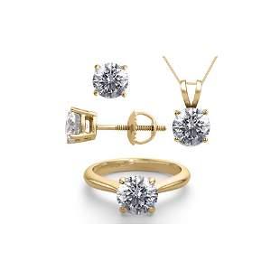 14K Yellow Gold SET 4.0CTW Natural Diamond Ring,