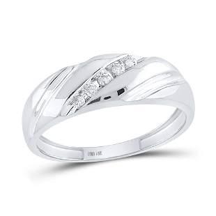 Round Diamond Wedding Band Ring 1/10 Cttw 10KT White